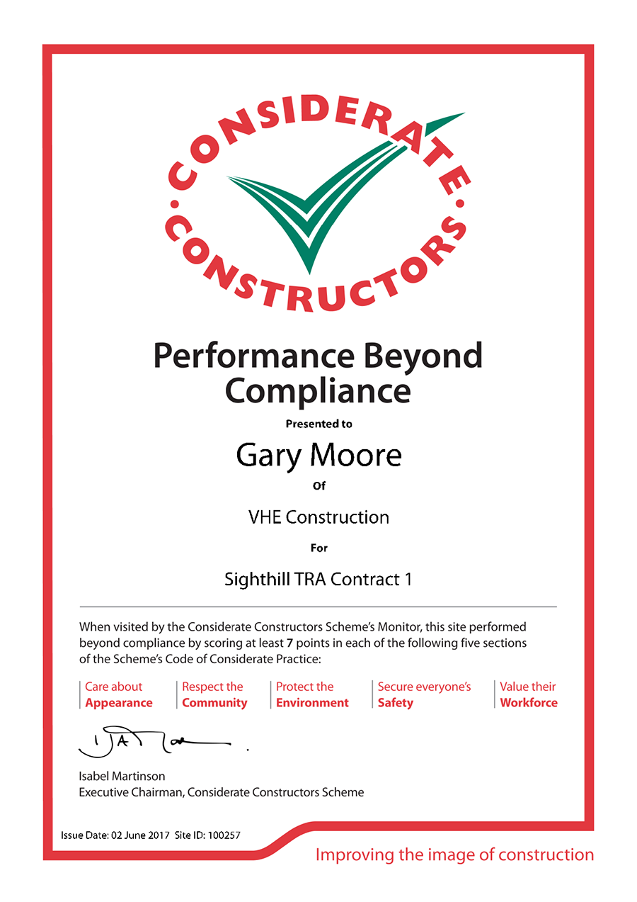 VHE awarded Performance Beyond Compliance Certification