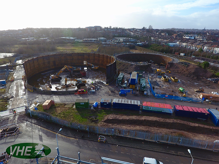 VHE secure Gasholder Demolition project in Birkenhead